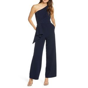 Eliza J Wide Flared Leg One Shoulder Jumpsuit